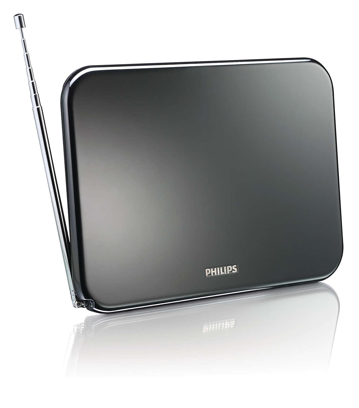 Digital TV-antenne Innendørs, 42 dB forsterket, HDTV/UHF/VHF/FM